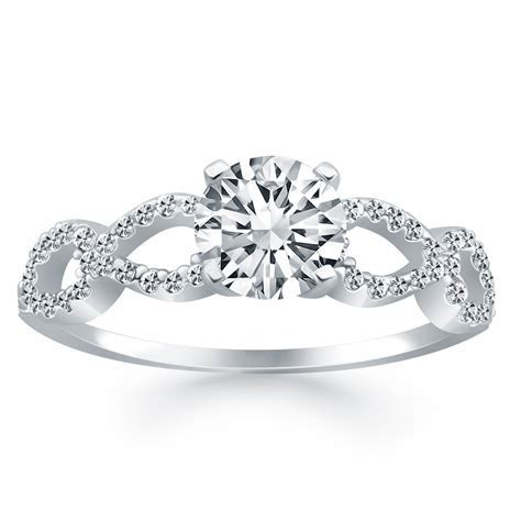 Double Infinity Diamond Engagement Ring in 14K White Gold