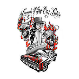 Laugh Now Cry Later Gangsta Tattoo Design