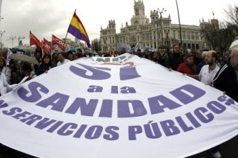 Españoles marcharon contra privatización de la salud