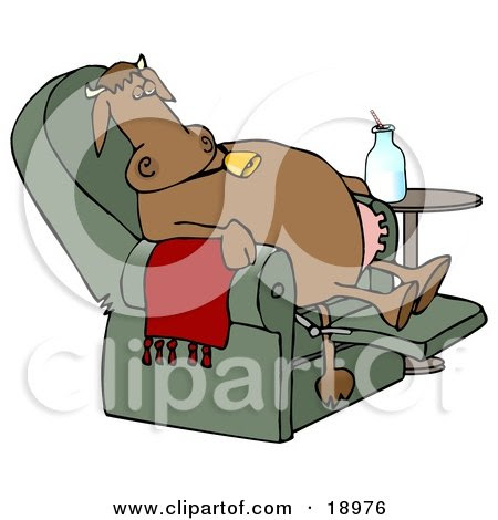 http://images.clipartof.com/small/18976-Clipart-Illustration-Of-An-Exhausted-Brown-Cow-Kicked-Back-Reclined-And-Relaxing-In-A-Green-Lazy-Chair-With-A-Bottle-Of-Milk-Beside-Him-Winding-Down-After-A-Long-Day-Of-Work-At-The-Dairy-Farm.jpg