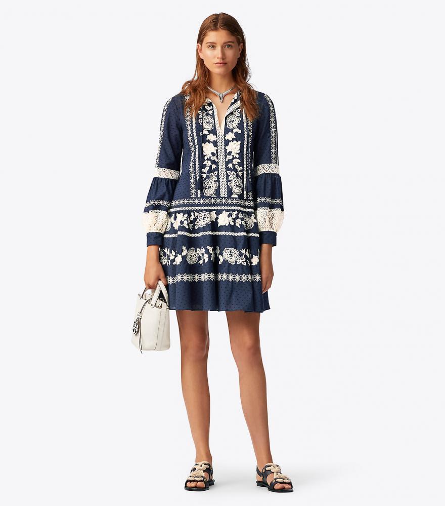 boho dress blau | damen tory burch kleider