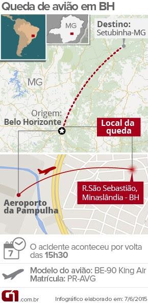 Mapa queda de avião em Belo Horizonte (Foto: G1)