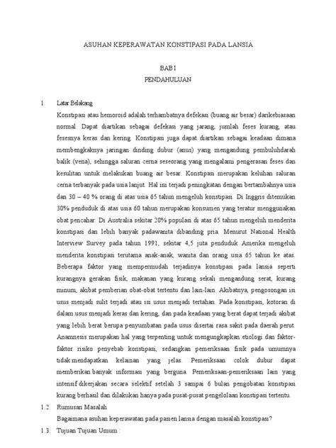 Asuhan Keperawatan Konstipasi Pada Lansia