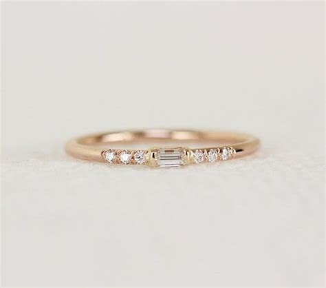14k Gold Thin Engagement Ring With Baguette Diamond,Simple
