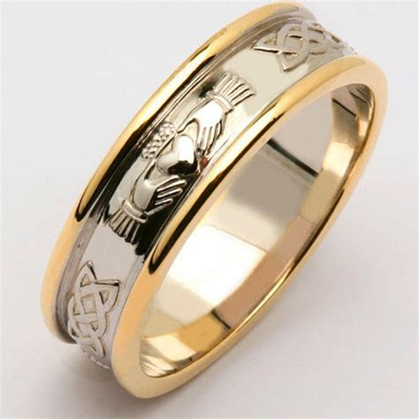 Irish Wedding Ring   Men's 14k Two Tone Yellow & White