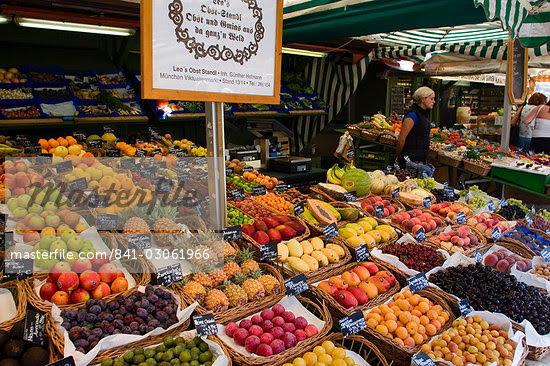 Fruit stall at Viktualienmarkt, Munich, Bavaria, Germany, Europe                                                                                                                                         Stock Photo - Direito Controlado, Artist: Robert Harding Images    , Code: 841-03061966
