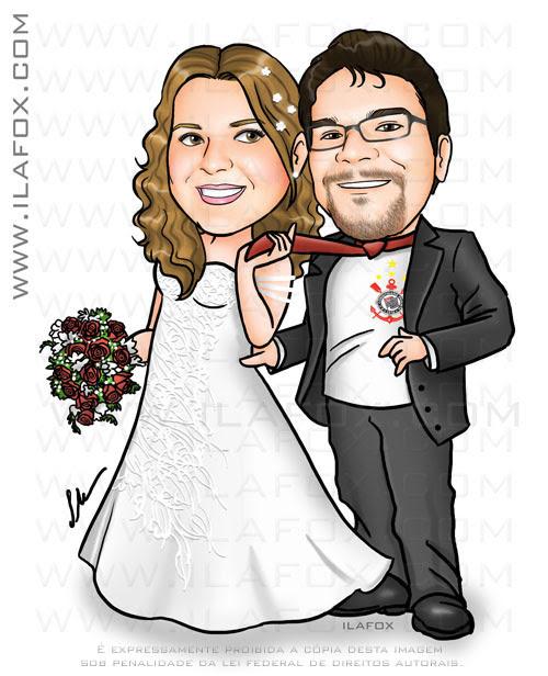 caricatura, corpo inteiro, colorido, noiva puxando noivo pela gravata, noivo de barba, caricaturas para casamento, by ila fox