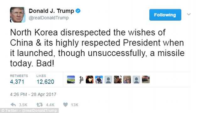 President Donald Trump has responded saying that North Korea had 'disrespected the wishes of China' with the missile test