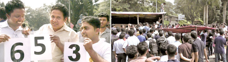 Peradeniya University students removed the tent at Galaha junction where their colleagues had been engaged in a Satyagraha for 653 days.