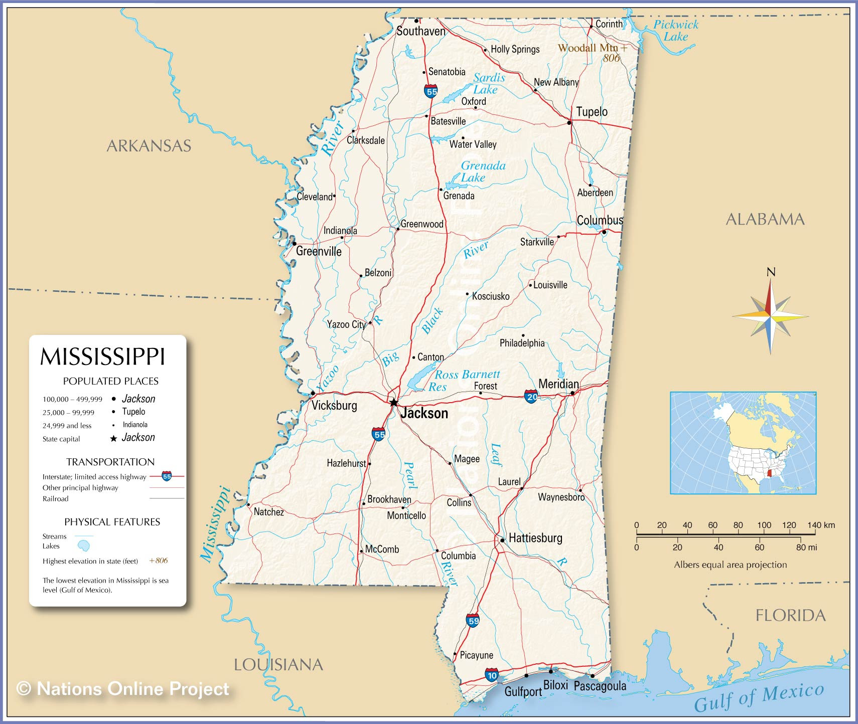 Reference Maps Of Mississippi Nations Online Project