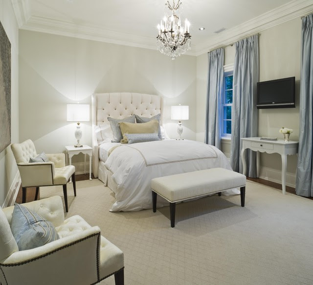 Velvet Tufted Headboard - French - bedroom - Taylor Hannah Architect