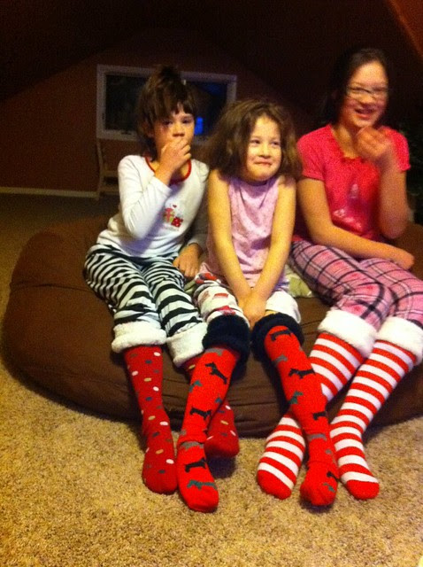 Christmas traditions for families — silly socks and a movie