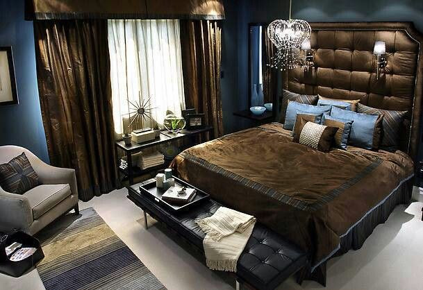 brown and blue room decor