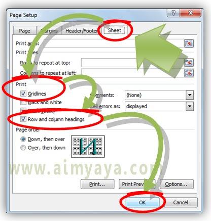 Gambar: Memanfaatkan dialog Page Setup untuk mencetak gridlines serta heading baris/kolom