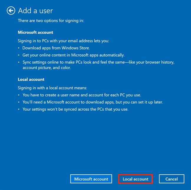 Ignore la información falsa de Microsoft y elija Cuenta local