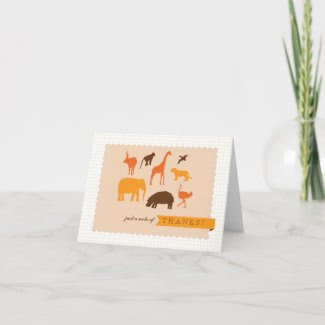 Elegant Safari Animals Baby Shower Thank You Card