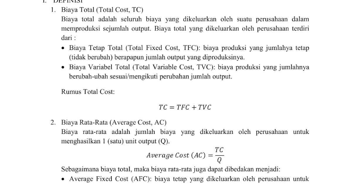 Contoh Soal Menghitung Biaya Tetap Dan Biaya Variabel ...