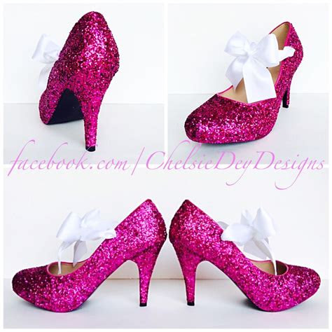 glitter high heels hot pink pumps sparkly platform