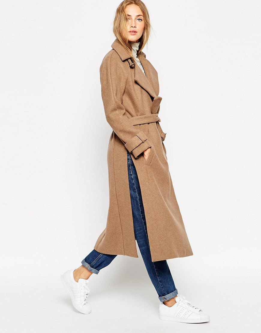 Image 4 of ASOS Coat in Midi Length with Side Splits