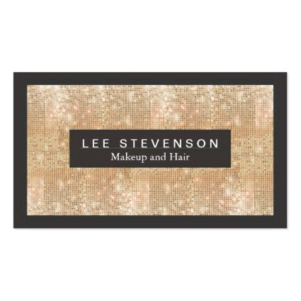 Gold Sparkly FAUX Sequins Makeup Artist Salon Business Card