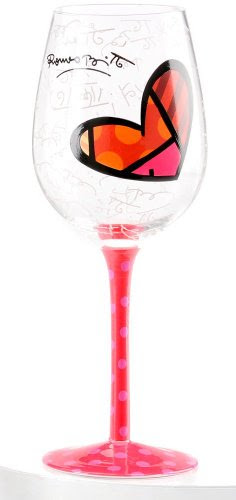 Romero Britto Heart Wine Glass with Pink Polka Dot Hand Painted Stem