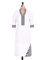 White check print cotton kurta