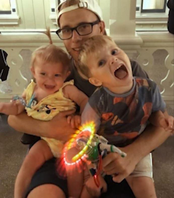 Alex with his two children. Credit: BBC Three