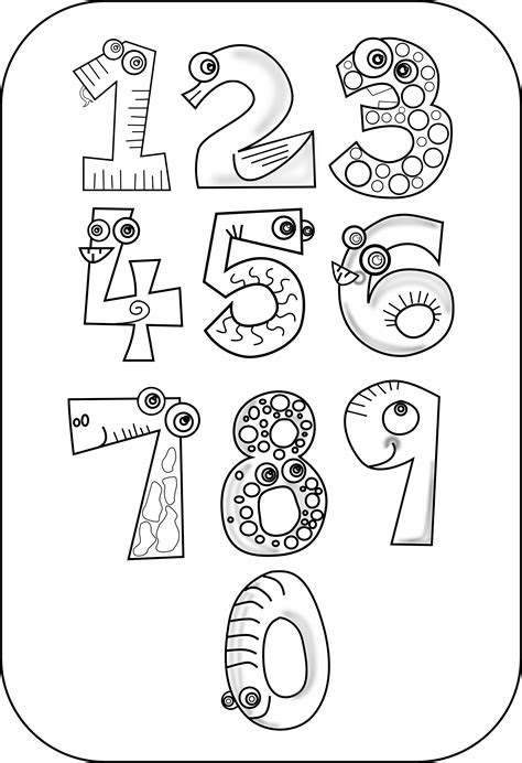numbers clipart black  white  clip art