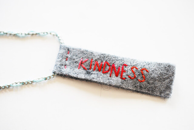 loyalty & kindness stitched necklace