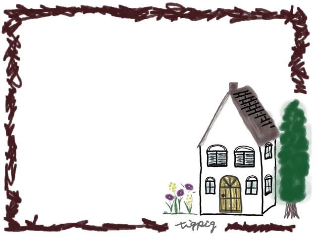 フリー素材フレーム北欧の森の奥みたいな家のイラストとラフな茶色の