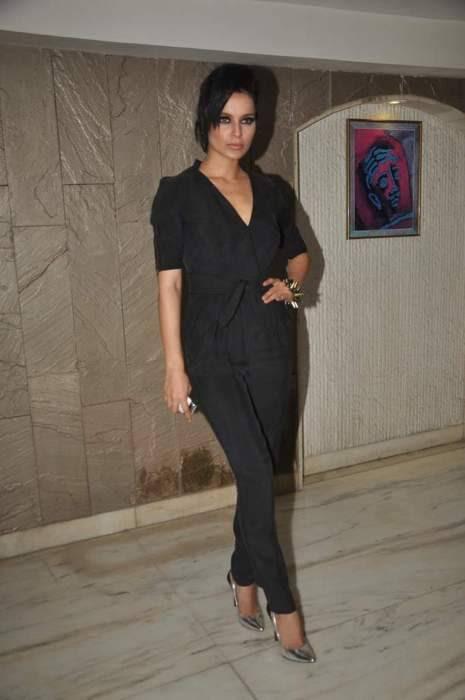 Kangana Ranaut in a black Stella McCartney jumpsuit at Arjun Rampal's birthday bash.