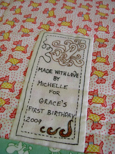 Bunny quilt - label