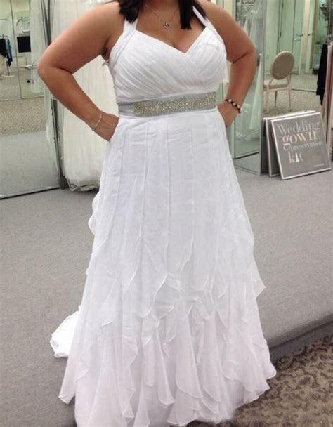size halter neck chiffon wedding dress bridal gown