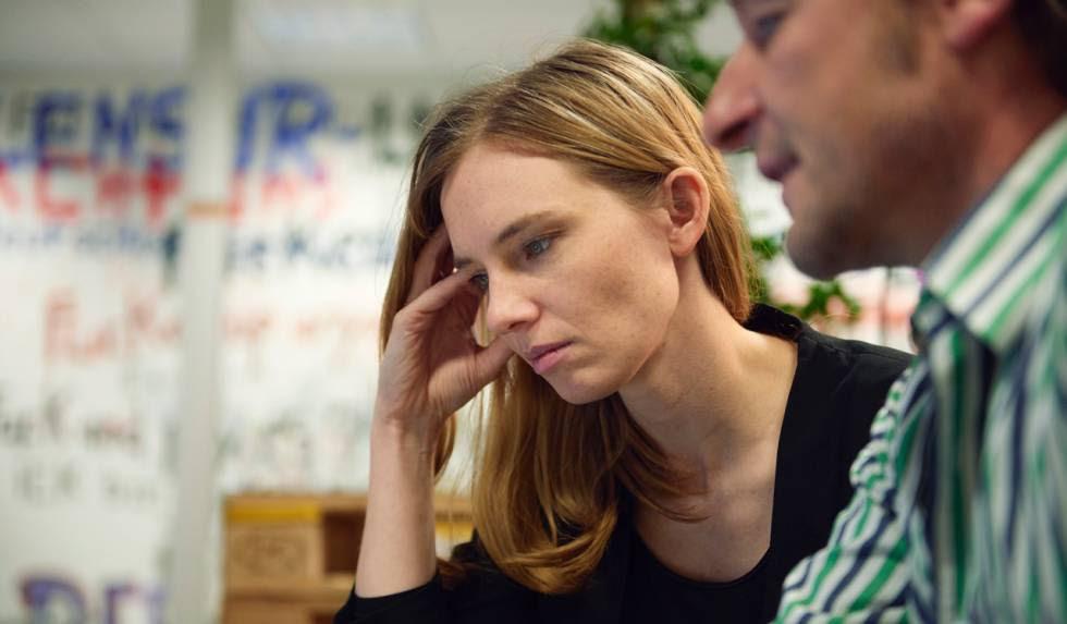 Anne Riechert en la escuela de integración digital ReDi.