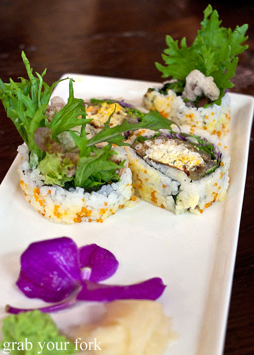 soft shell crab roll at yebisu izakaya, regent place sydney