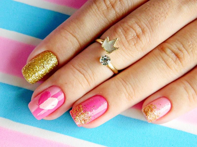 juliana leite unhas rosa glitter dourado coração amor holografic 006