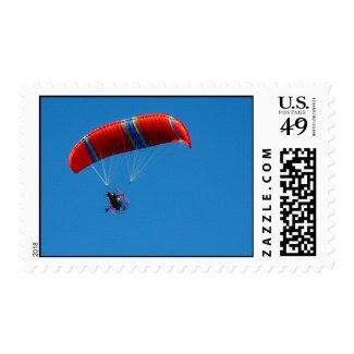 Motorized Paraglider on Blue Sky – Medium Stamps