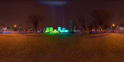 The Quebec Winter Carnival - Bonhommes Castle - Equirectantular Projection