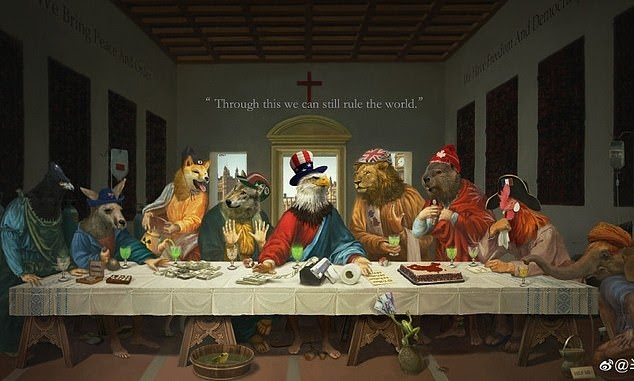 Image China takes a vicious swipe at G7 leaders with an eerie cartoon warning of the West's 'last supper' - after Australia's PM received rousing support for a new Covid origin inquiry