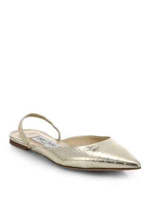 Jimmy Choo Genoa Mirror-Finished Leather Slingback Flats
