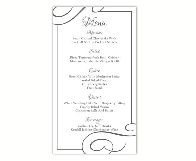 Wedding Menu Template DIY Menu Card Template Editable Text Word ...