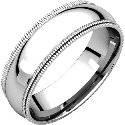 TD123886W 14K White Gold 6mm Double Milgrain Comfort Fit