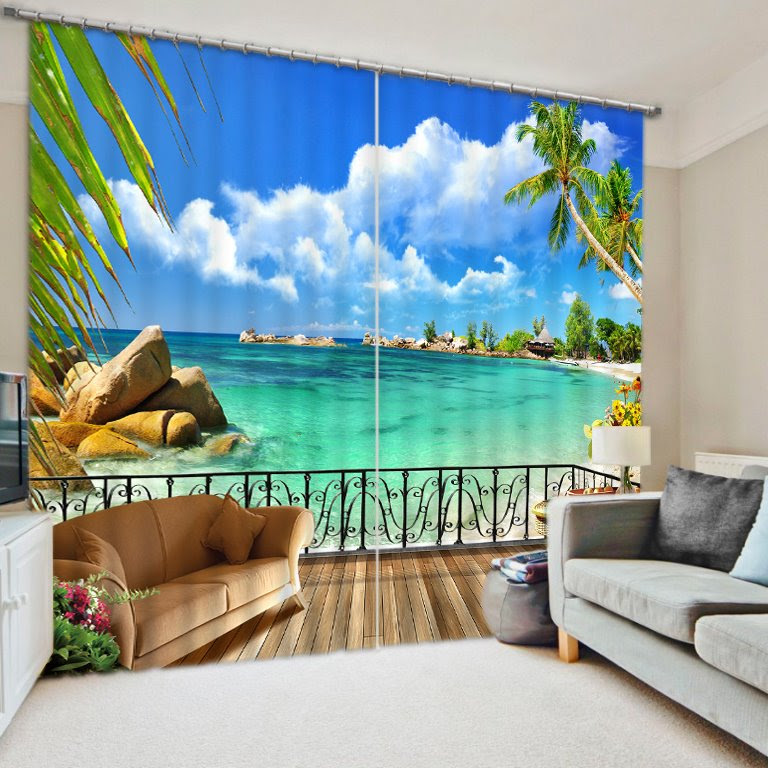 Beautiful Beach Scene out of the Window Print 3D Blackout Curtain