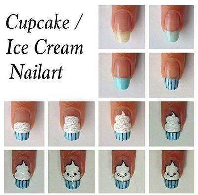 Ice Cream/Cupcake Nail Art Tutorial. Head over to Pampadour.com for more fun and cute nail art designs! Pampadour.com is a community of beauty bloggers, professionals, brands and beauty enthusiasts! #nails #nailpolish #polish #nailart #naildesign #cute #fun #pretty #howto #tutorial #beauty #icecream #cupcake