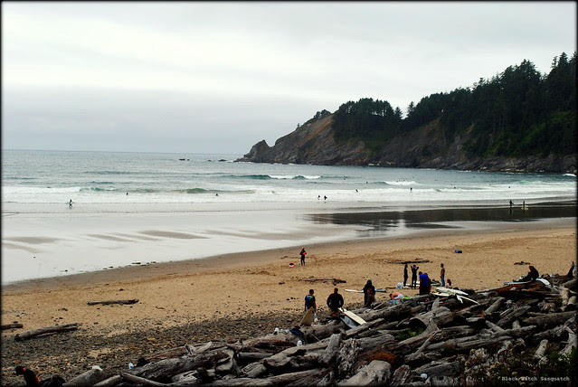 Surfers at Smuggler's Cove - Oswald West State Park