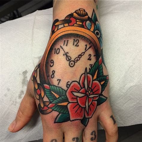 hand tattoos clock tattoo models designs quotes