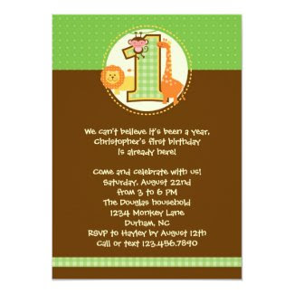 "Jungle Safari First Birthday Invitation 5"" X 7"" Invitation Card"