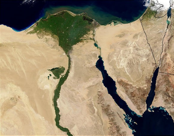 Nile Delta from space by the MODIS sensor on the Terra satellite. Credit: Jacques Descloitres/NASA/GSFC