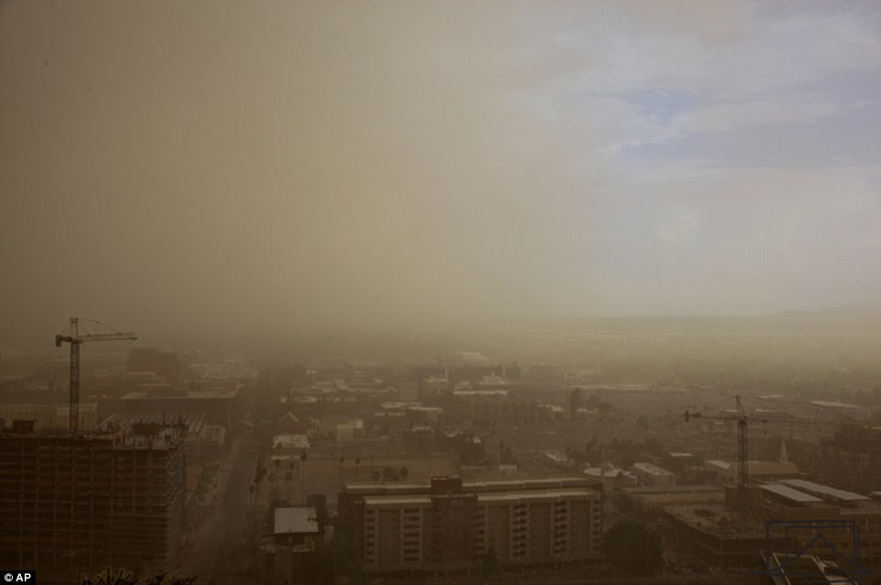 The haboob covered cities in the metropolitan Phoenix area such as Scottsdale, Gilbert, Mesa, Apache Junction, Santan Valley, Chandler, Casa Grande and downtown Phoenix