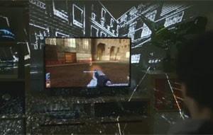 Área do game 'sai' de dentro do televisor em projeto da Microsoft (Foto: Divulgação)
